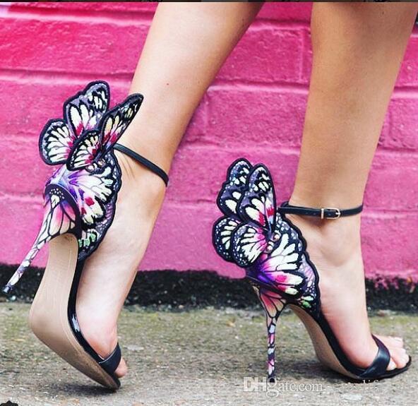 Kadın moda yeni 2019 sophia webster lüks kelebek kanatları sandalet çok renkli işlemeli yüksek topuklu gladyatör toka kayış açık