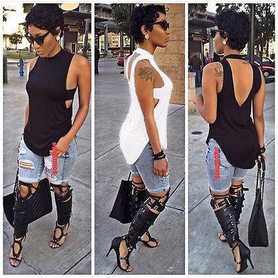 Toptan-Seksi Kadınlar tişört Backless Yaz Moda Kadınlar Günlük Kolsuz Pamuk Tee T Gömlek Tops