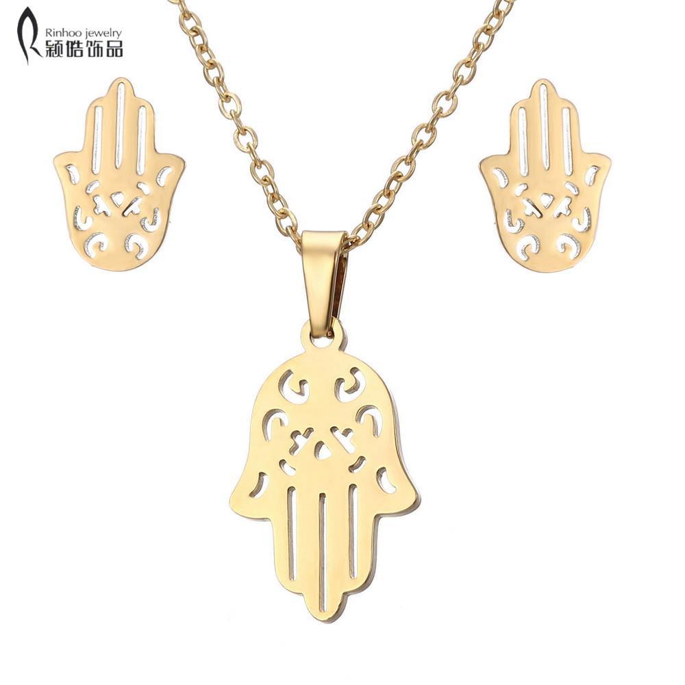 Fatima Hamsa Pendentif main Colliers Boucles d'oreilles en acier inoxydable pour les femmes à la mode Set bijoux de mariage