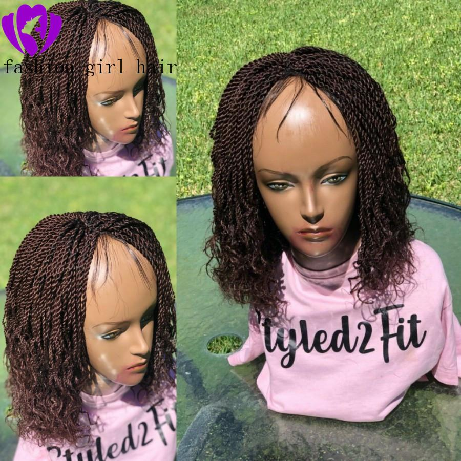 180DENSITY full short Braided Box Braids braids With Curly Wig Natural black Lace Front Synthetic twist Wig Heat Resistant for black Women