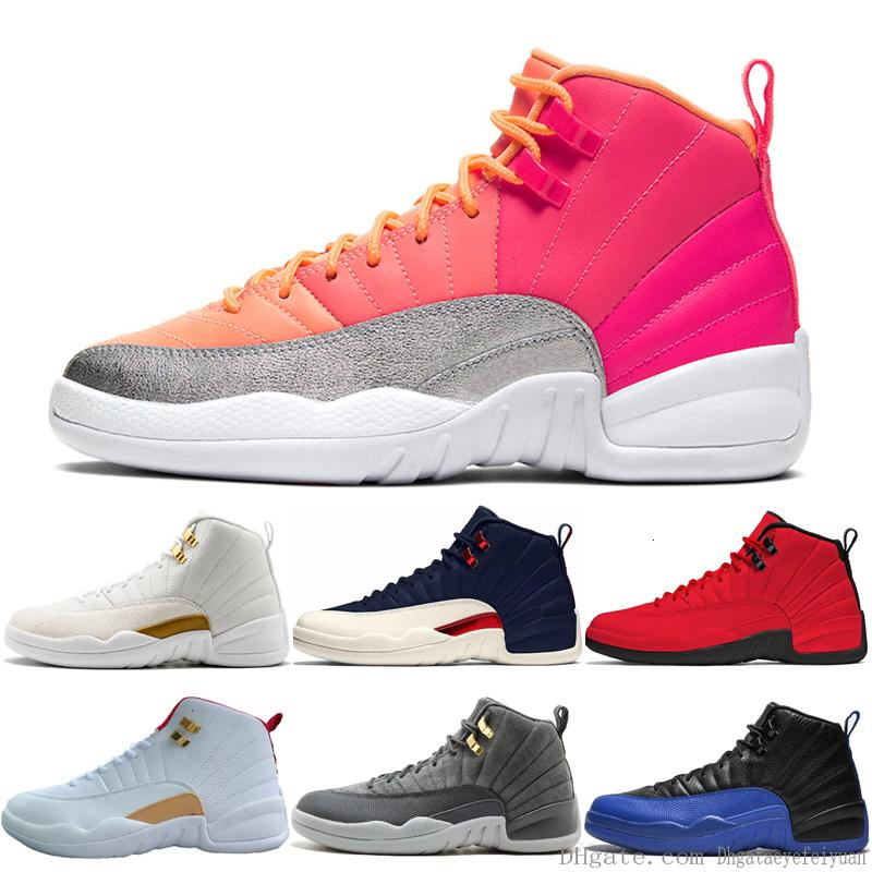Erkekler Oyunu Kraliyet Üniversitesi Altın Gym Kırmızı Master Koleji Donanma Erkek Spor Spor ayakkabılar Boyutu 7-13 İçin 12 12s Sıcak Punch Basketbol Ayakkabı