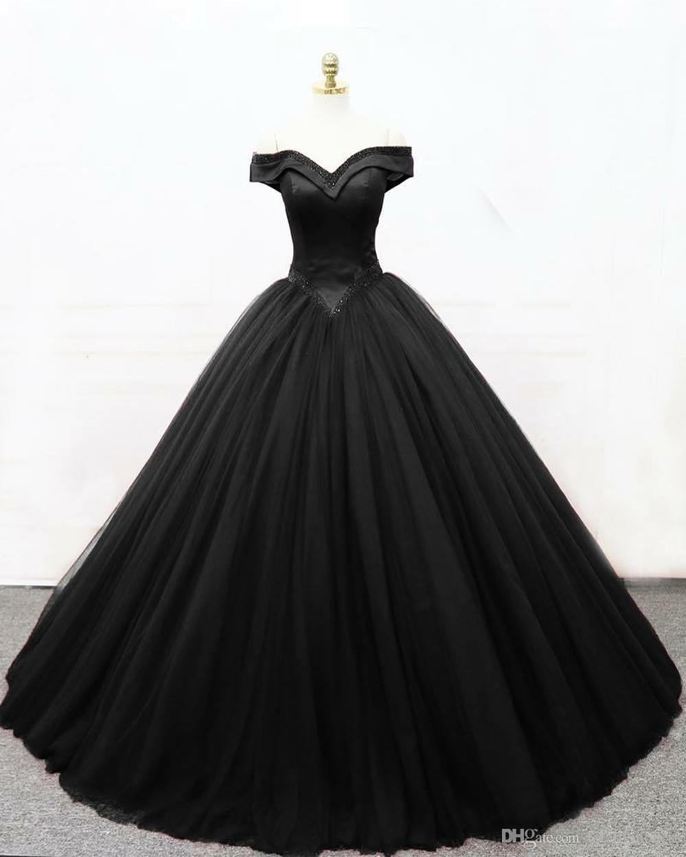 2019 New Ball Gown Black Gothic Wedding Dresses Off the Shoulder Basque Waist Corset Back Floor Length Women Vintage Non White Bridal Gown