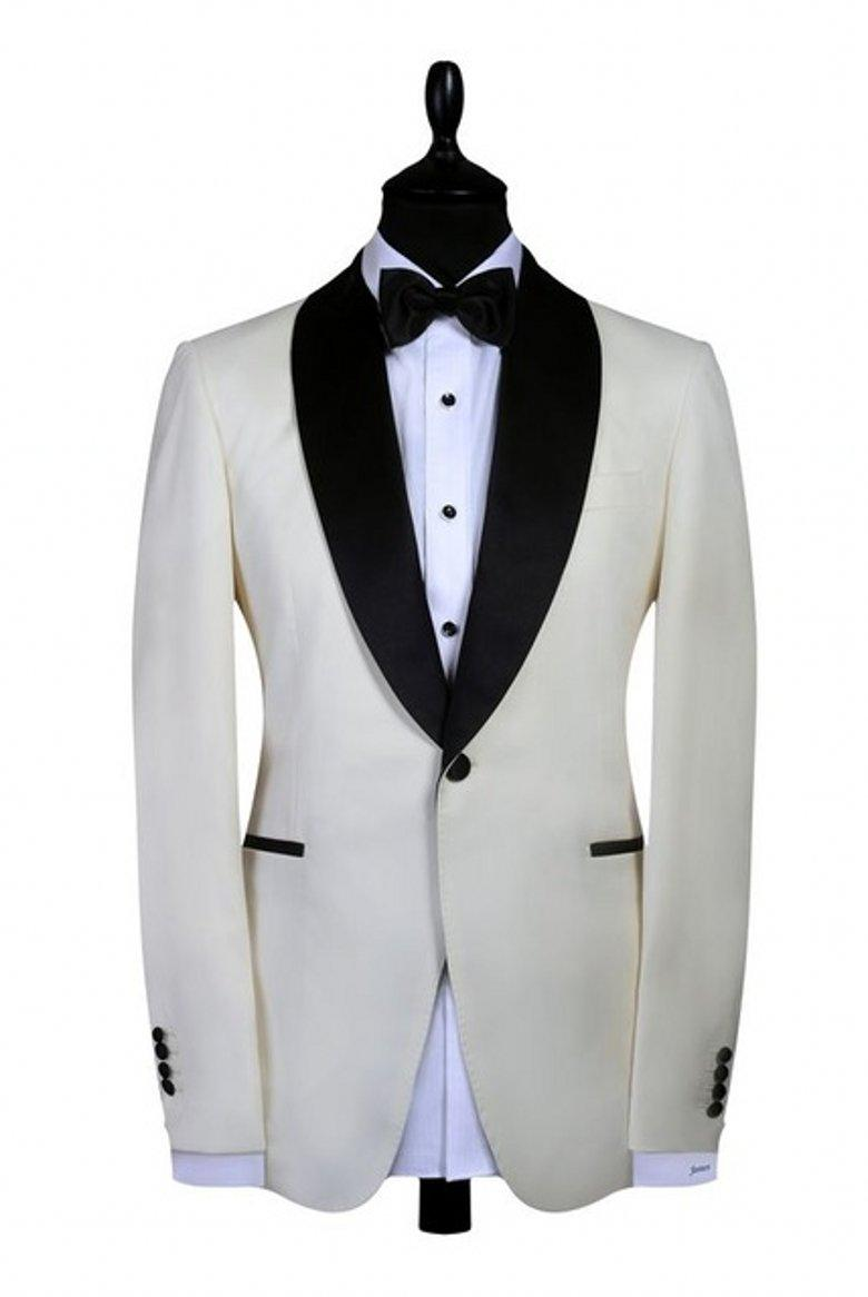 High Quality Groom Tuxedos Ivory Shawl Lapel Best Man Suits Groom Wear Men's Suit (Jacket+Pants+Tie) P1