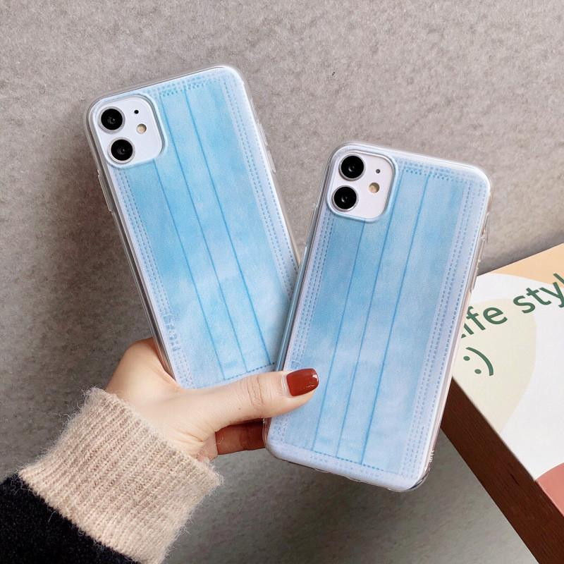 Face Masks Case For iPhone 11 Pro Max Soft TPU Blue Masks Back Cover For iphone 7 8 Plus XS XR Free Shipping