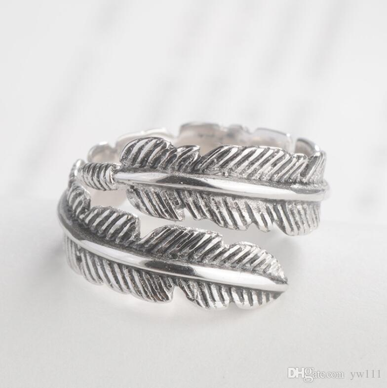 Vintage feather men and women personality adjustable retro ring
