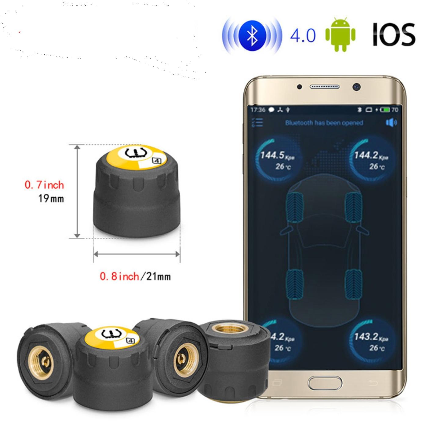 V11 Car TPMS Tire Pressure Monitoring System BT-4.0 BLE for iOS / Android Phones 4PCS Car Tire Pressure Detector