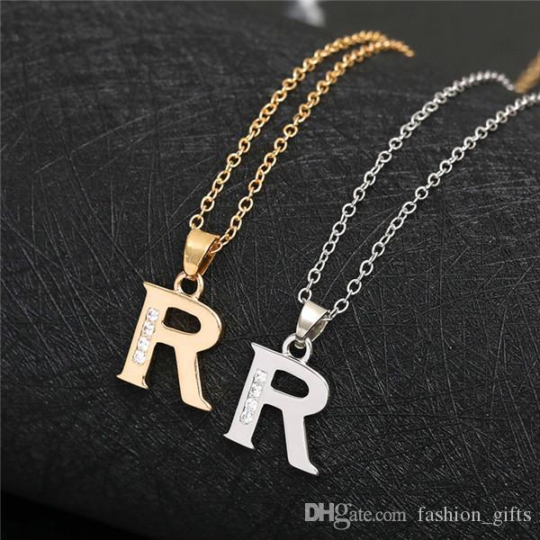 Cursive İngilizce mektup adı işareti -r moda şanslı monogram kolye kolye alfabe ilk işareti anne arkadaş aile hediye kolye takı