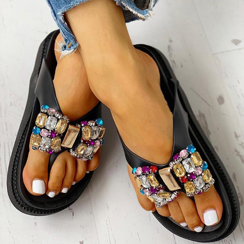 Rhinestone Bow Flats Ladies Beach Slipper New Arrival Crystal Women's Summer Footwear Non-slip Lightweight Flip Flops woman shoe