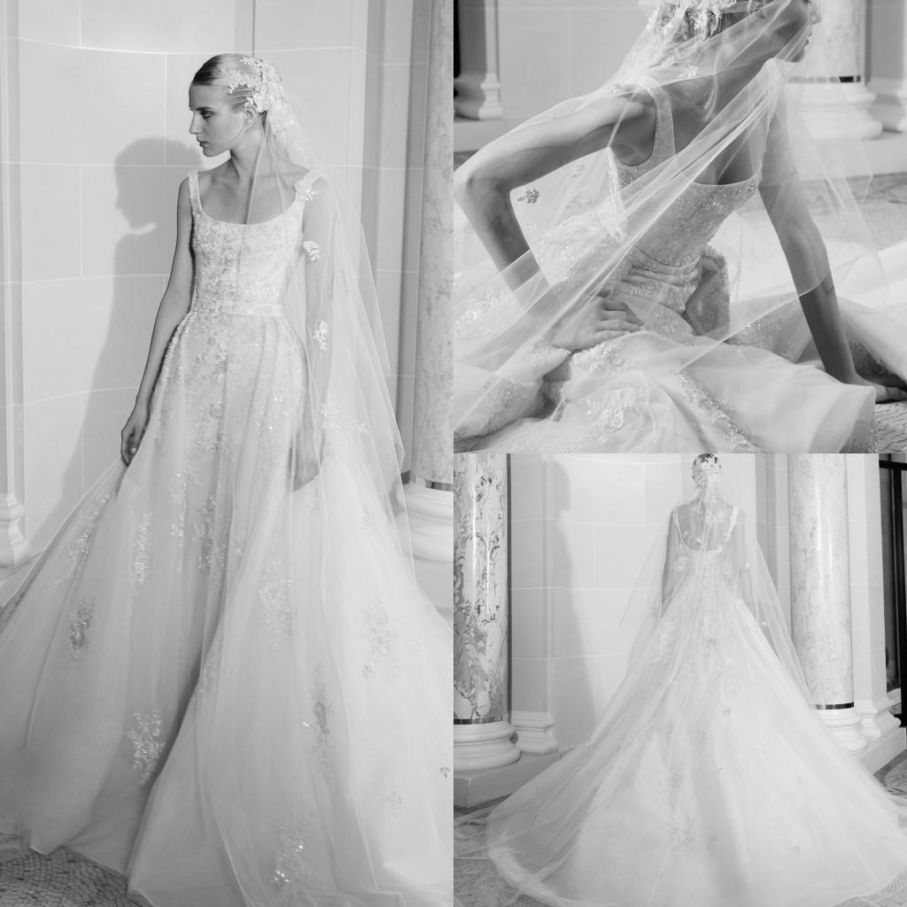 Modesta de Elie Saab elegante una línea vestidos de boda apliques de las lentejuelas espagueti sin mangas de encaje sin espalda vestidos de boda del tren del barrido robe de mariée