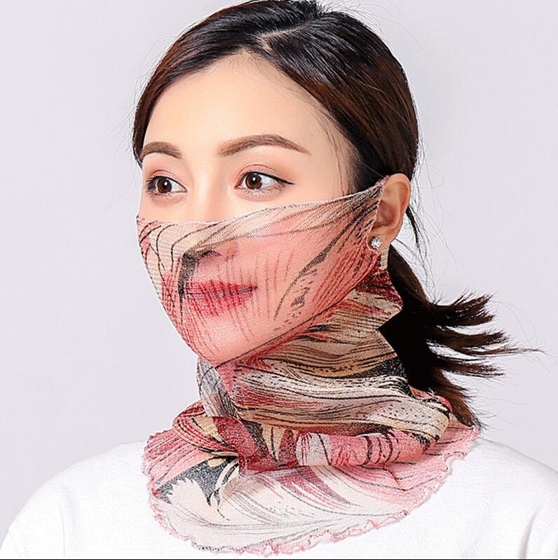 Maschera Maschera ciclismo femminile faccia estate Protezione UV sciarpa protezione solare Stampato Bocca di copertura traspirante Escursionismo Equitazione Neck