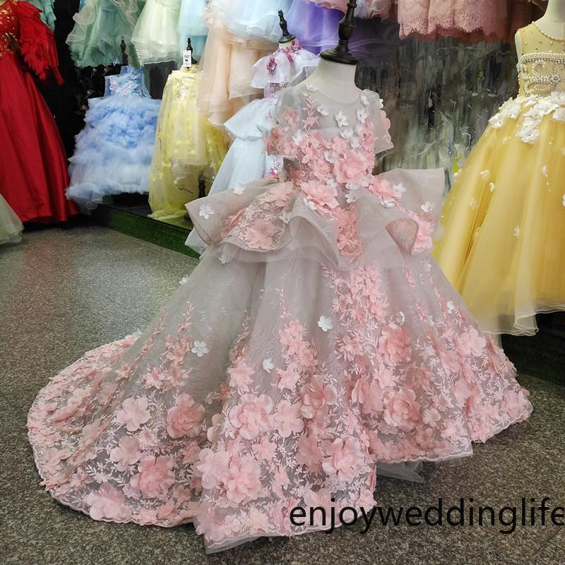 Real Picture New Flower Girls Dress Baby Girl Clothes Lace 3D Flowers Applique Puffy Tulle Kids Birthday Gown Custom Made