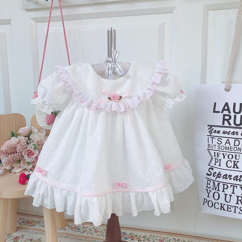 Baby Girl Primavera-Verão Branco Vintage fumadores bordado vestido de princesa para Casual menina aniversário Páscoa vestido de algodão