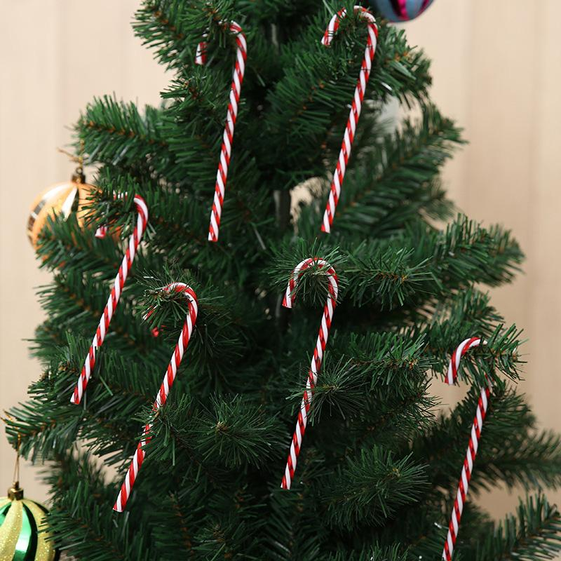 6pcs/pack Candy Crutch Pendant Home Christmas Tree Decor Hanging Ornament For New Year Xmas Party Kids Gift