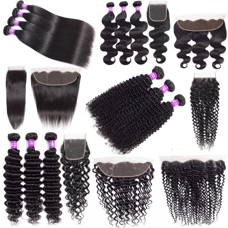 9A Brésilien Cheap cheveux humains Weave Bundles avec fermeture vague profonde Kinky cheveux bouclés Extensions cheveux avec Virgin Bundles 13x4 Lace Frontal