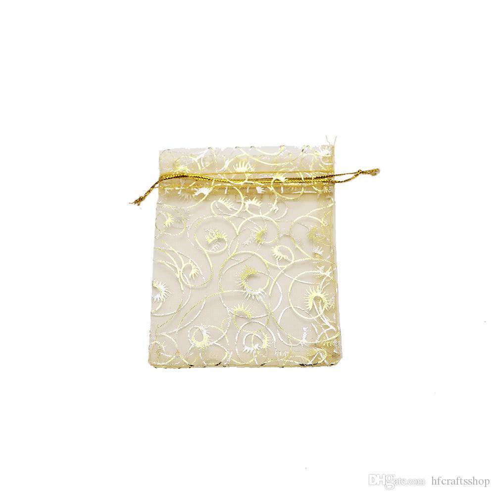 100 adet / grup Altın Kirpik Organze Takı Torbalar 12x9 cm Şampanya Şeker Hediye Takı Ambalaj Çantası Düğün Parti Favor Çanta Küpe Depolama