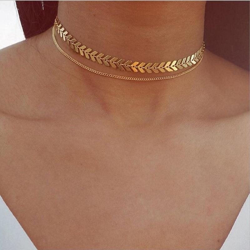 Two layers sexy fish bone v disc Arrow chain coin chain choker gold silver color plated For Women Necklace Gift
