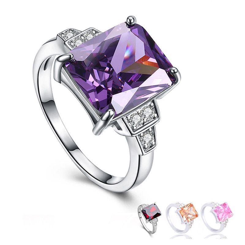 Простые и элегантные Большие циркон Обручальные кольца для женщин Красочные фиолетовый Шампанское Розовый Красный игристых CZ размера обручальное кольцо 6-10