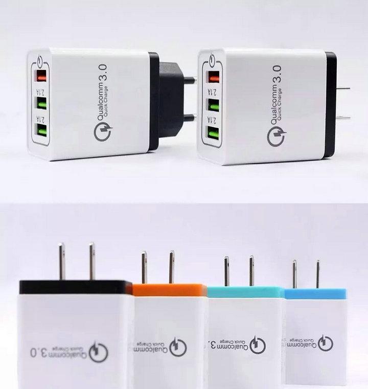 شحن سريع QC 3.0 شاحن تكيف سريع الذكية 3 منفذ USB ميناء الهاتف المحمول محول فلاش الولايات المتحدة الاتحاد الأوروبي التوصيل شاحن USB ل Xiaomi Samsung Huawei