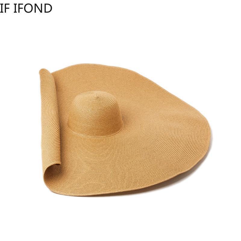 Bigger Brim Wide Straw Hats For Women Handmade Knitted Foldable Paper Beach Hat Summer Sun UV Hats