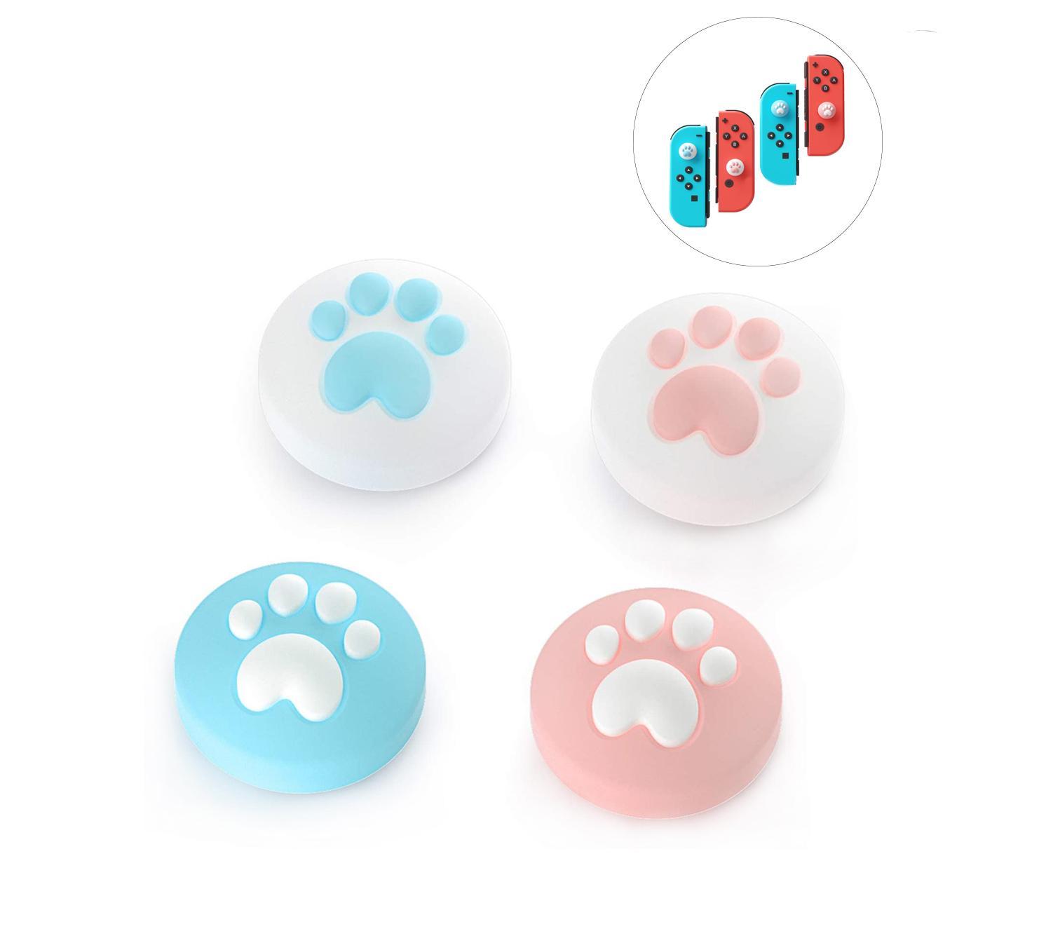Uña de gato Diseño Caps pulgar agarre, la palanca de mando del casquillo para el interruptor de Nintendo Lite, cubierta de silicona suave para Joy-Con Controlador (pinkblue)