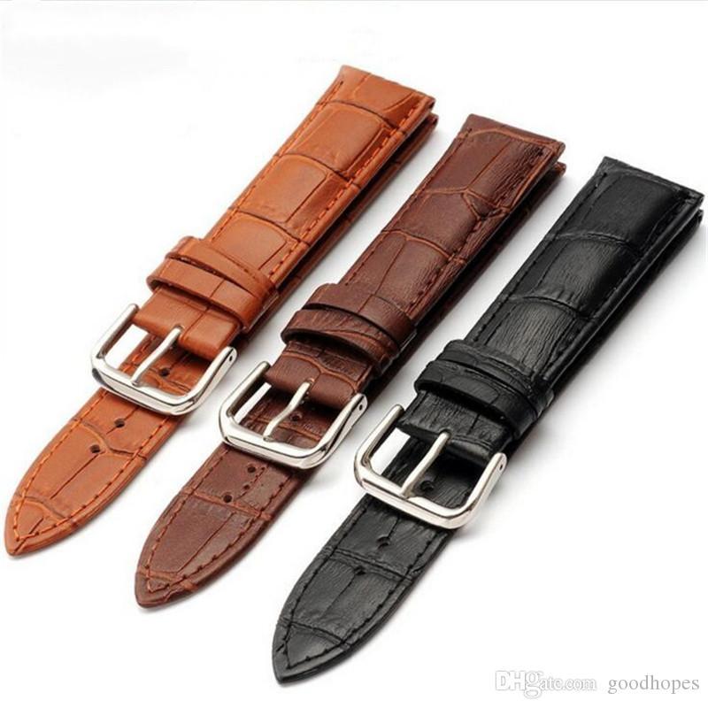 Couro genuíno as faixas de relógio couro de bezerro pulseira clássico para relógio com fivela 12 milímetros 14 milímetros 16 milímetros 18 milímetros 20 milímetros 22 milímetros