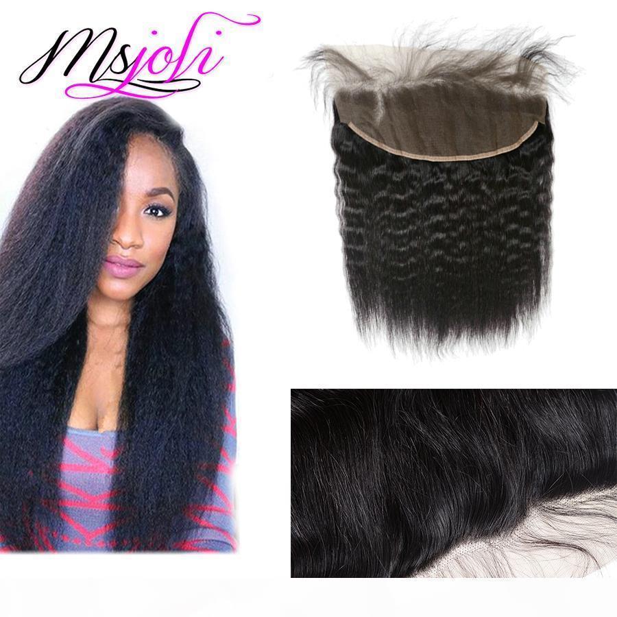 C İnsan saçı Brezilyalı bakire saç Dantel cephesel bebek saç ücretsiz parçası ucuz fiyat üst Qualit ile kulak kapatma 13x4 düz kulak kinky