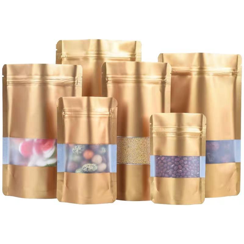 Gold Stand Up Package Zip Lock Mylar Фольга Упаковка пакетов Сумки с прозрачным окном 100 шт. Сумка для хранения пищи для гаек кофе