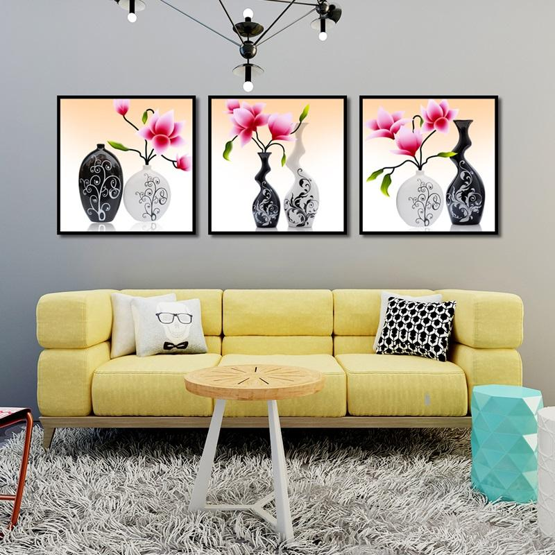 The Grotesque Vases Pink Flowers And Green Leaves Posters Home Decoration Canvas Painting Print Wall Picture for Living Room