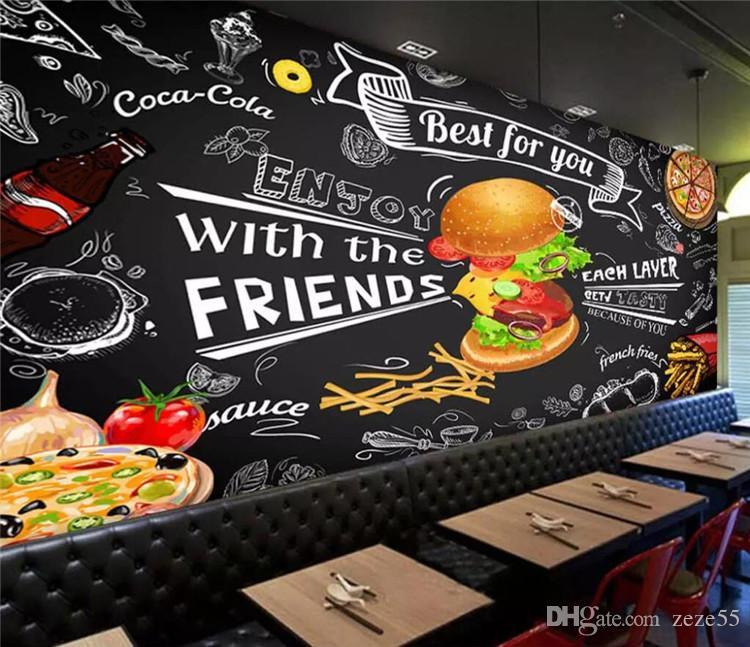 Benutzerdefinierte Burger Fast-Food-Wandpapier Restaurant Snack-Bar Catering 3D Wandtapeten Tapete Wohnzimmer Schlafzimmer Kulisse