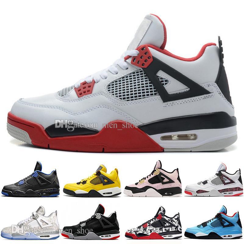 Nueva al por mayor Bred 4 4s Lo Las zapatillas Cactus Jack láser Alas de baloncesto del Mens Denim azul pálido Citron deportes de los hombres zapatillas de deporte diseñador 5,5-13