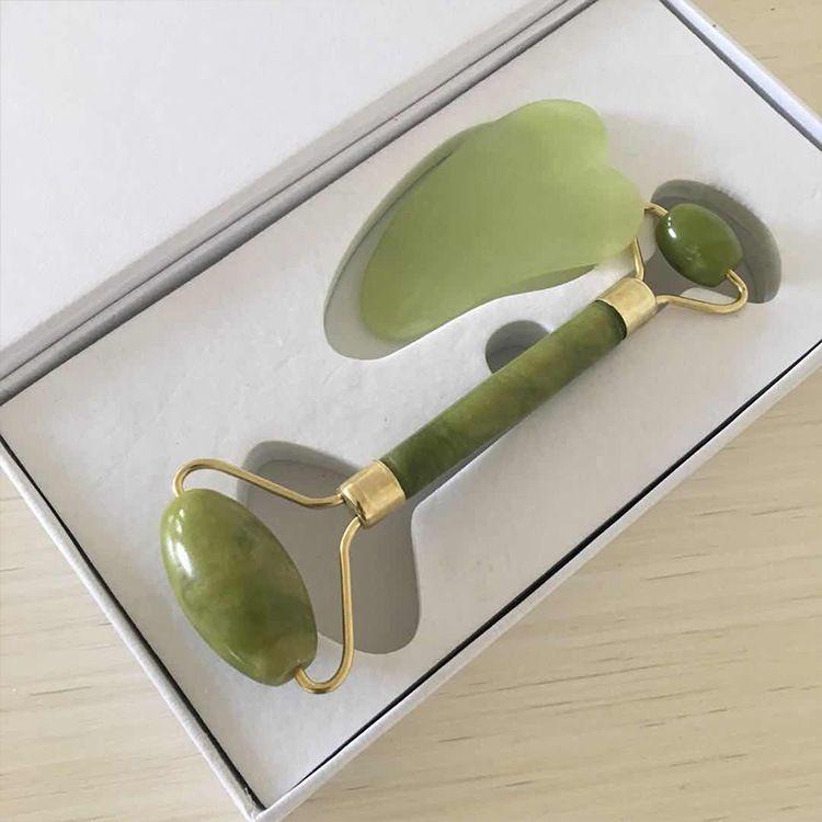 Jade Rouleau Gua Sha Massage Tool Set, - 100% jade tout naturel - très puissant - Anti vieillissement rides - Masseur visage pour les rides