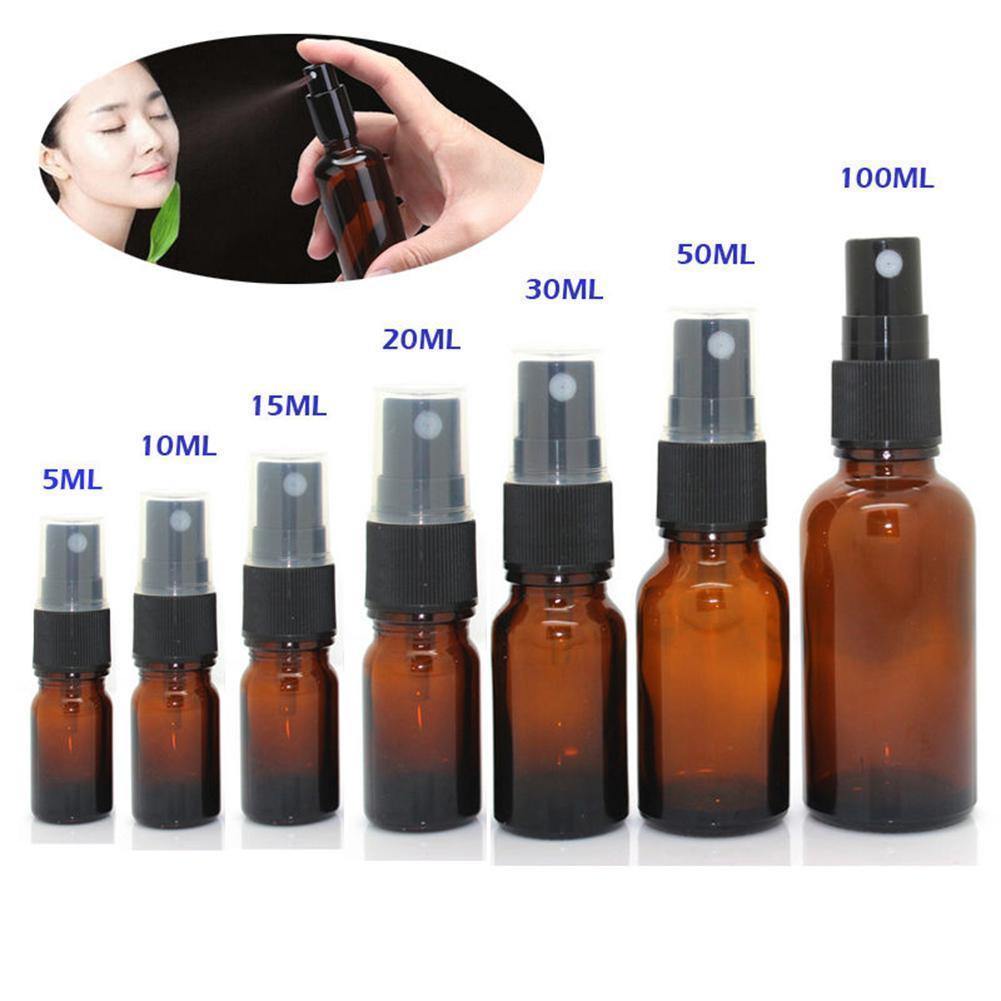 5-100ML البسيطة رذاذ زجاجة الجمال إفراغ زجاجات العنبر الزجاج من الضروري النفط رش رذاذ زجاجة الحاويات حالة إعادة الملء السفر