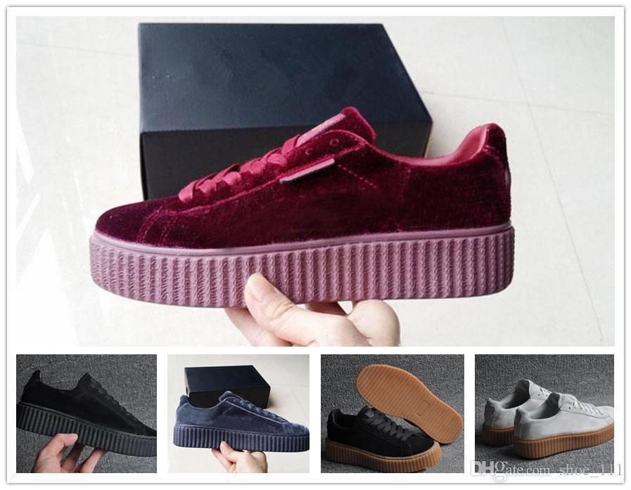 Womens Rihanna Fenty Riri Platform Creeper Velvet Pacote de Borgonha Preto Cor Cinza Marca senhoras clássicos calçados casuais