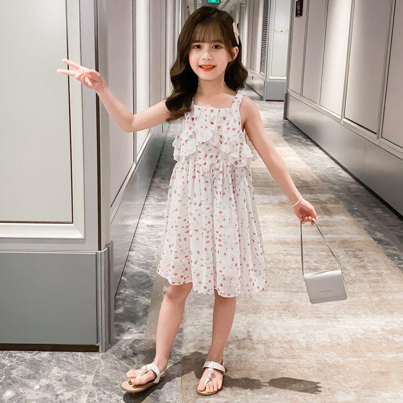 Sommer-neues Kleid des Mädchens Koreanisch-Art-Kinder buntes Chiffon- Kleid-süße Spitze-Prinzessin für Teenager Drop