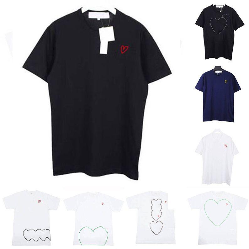 T-shirt 19ss Mens Designer camisetas Moda Verão mans Marca Rua manga curta Casual T-shirts Tees Coração Imprimir engraçado Top Tees ES6999