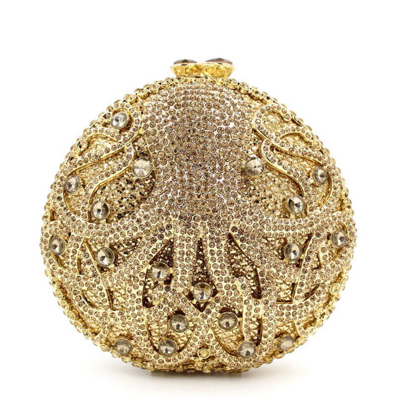 Dgrain Dazzling Gold Octopus Crystal Clutch Evening Purse Bag Women Sea Animal Formal Dinner Handbag Wedding Bridal Purse Minaudiere Boxes