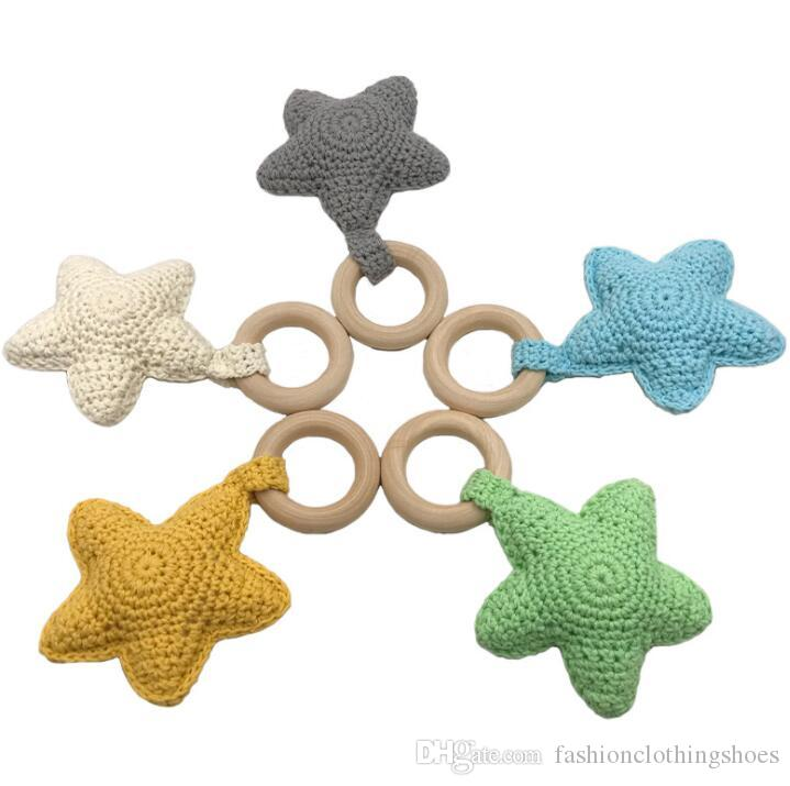 Infant knitting Teethers Wooden Toddler Crochet five-pointed star Soothers baby molar training 9 colors