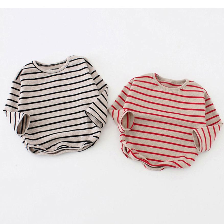 Primavera outono Bebê Meninas Meninos Camisa de Manga Comprida Stripe Tops de algodão Macio Criança T-Shirt Dos Miúdos Roupas de moda Quente