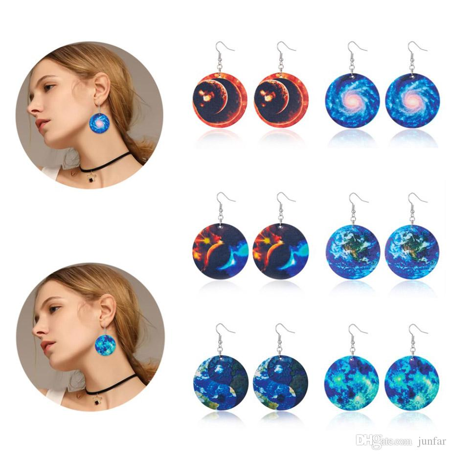 New Fashion PU leather globe Printing earrings drop earrings for women Jewelry gift wholesale
