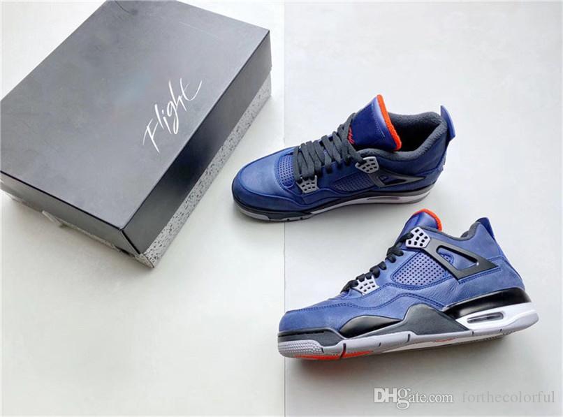 Zapatos más nuevos de aire auténtico 4 Invierno Azul Leal WNTR blanco retro Habanero Rojo Negro 4S baloncesto de los hombres CQ9597-401 zapatillas de deportes con la caja