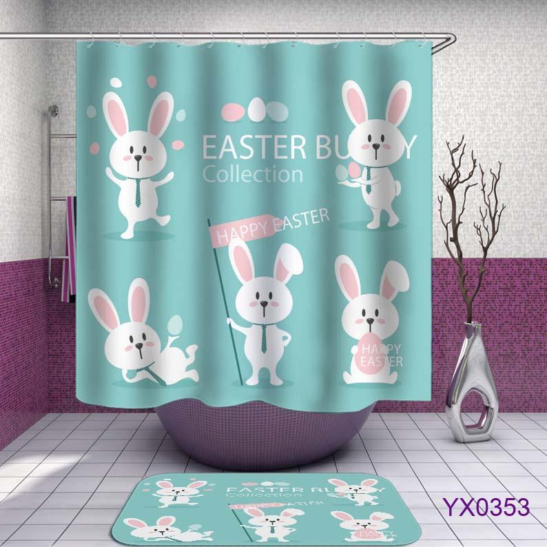 Cortinas de ducha de Pascua preciosas cortinas de baño blancas cortinas de baño de tela de poliéster impermeable de decoración para el hogar