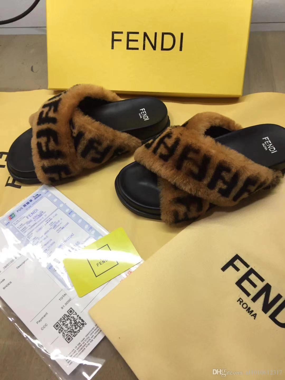 2020 donne di lana d'inverno pantofole di pelliccia di lusso originale modo di marca fondo spesso Vera Pelle Lady Lettera caldo morbido pantofole dei sandali 102