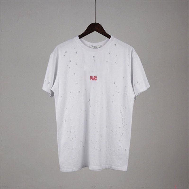 Designer-Sommer-T Shirts Designer Shirt der Männer und Frauen kurze Hülsen-Loch Hemd LOGO-Buchstabe gedrucktes Rundhalsausschnitt Tops Tees S-2XL XY1882205