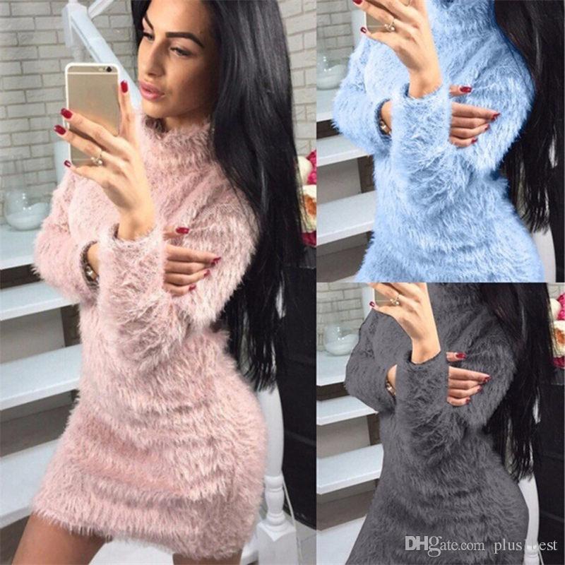 Solid Color Дизайнерские женские платья плюша O шеи Женская Толстые платья Повседневная женская одежда