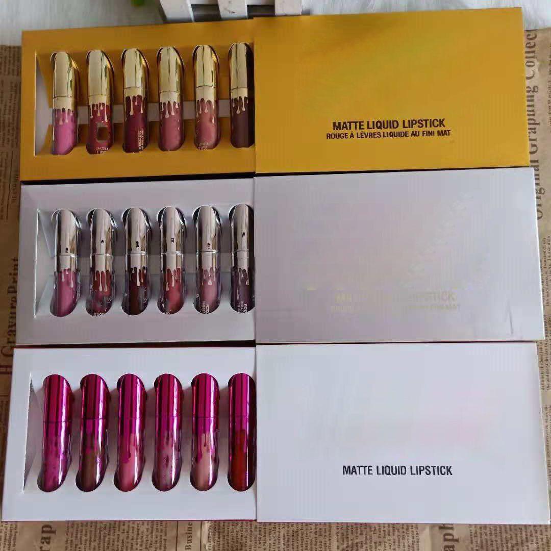 HOT Kylie Jenner Cosmetics Matte liquide Rouge à lèvres Lip Mini Kit anniversaire édition limitée avec le Golden Box 6pcs / set Lip Gloss 3Réglez DHL gratuit
