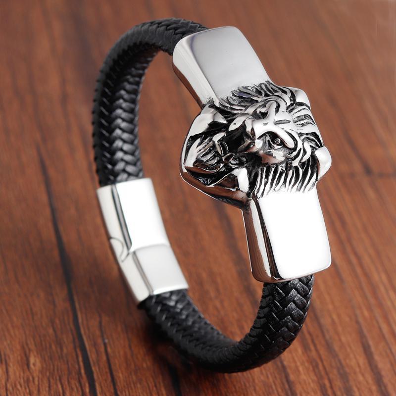 León de la cuerda cuero de los hombres brazalete de acero inoxidable magnético del corchete de cuero de vaca-trenzado multi capa envolvente brazalete de moda hombre pulsera