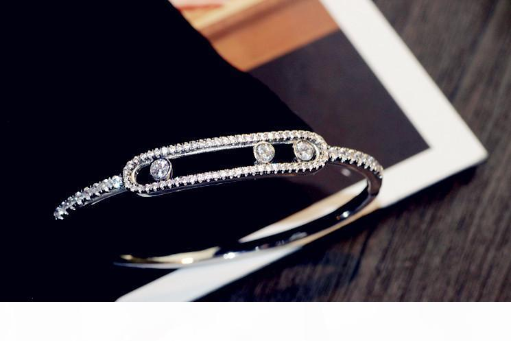 Silver color Sliding Move Stones Bracelet Bangle For Women Girl With Movable Stone Move Bracelet jewelry France brand