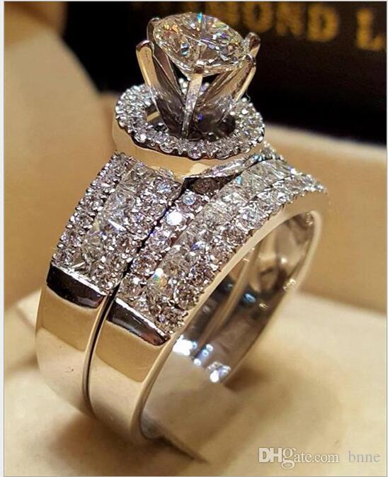 Cute Female Crystal White Zircon Stone Ring Set Luxury 925 Silver Engagement Ring Vintage Bridal Wedding Rings For Women