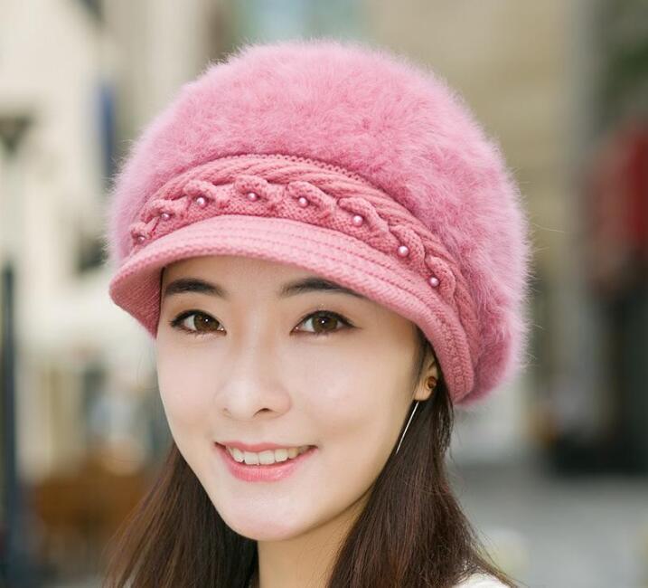 Hot venda Artista manter aquecido Pérola Coelho Beret Hat para o inverno Mulheres Mantenha a forma das mulheres Hot Beret Hat Casual Dome Nude Hat