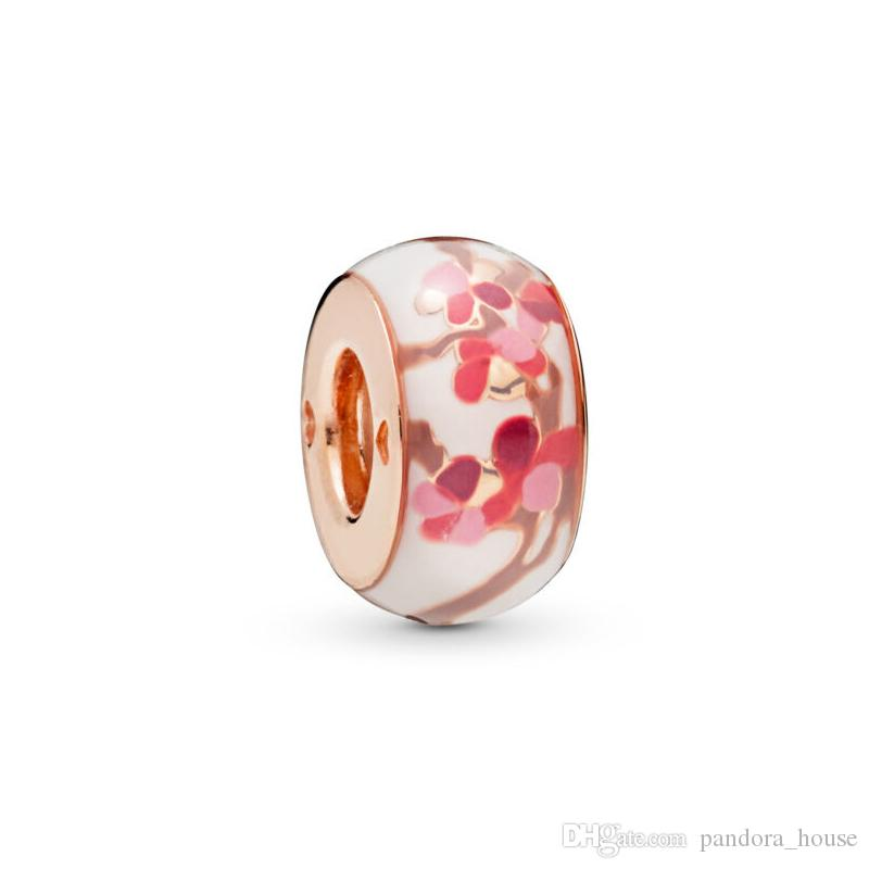 2019 Summer Wholesale Real 925 Sterling Silver ROSE PEACH BLOSSOM FLOWER SPACER Beads Fit Pandora DIY Jewelry 787200C00